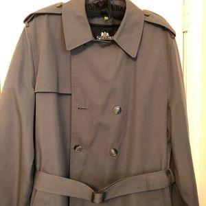 Stafford Men's Trench Coat, Gray, 44 Long
